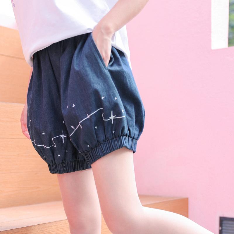 Pre-Order กางเกงขาสั้นทรงฟักทอง ปักลายดาว