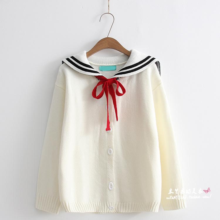 Pre-Order เสื้อคลุมไหมพรมคอปกกะลาสี สไตล์ Marine มี2สี
