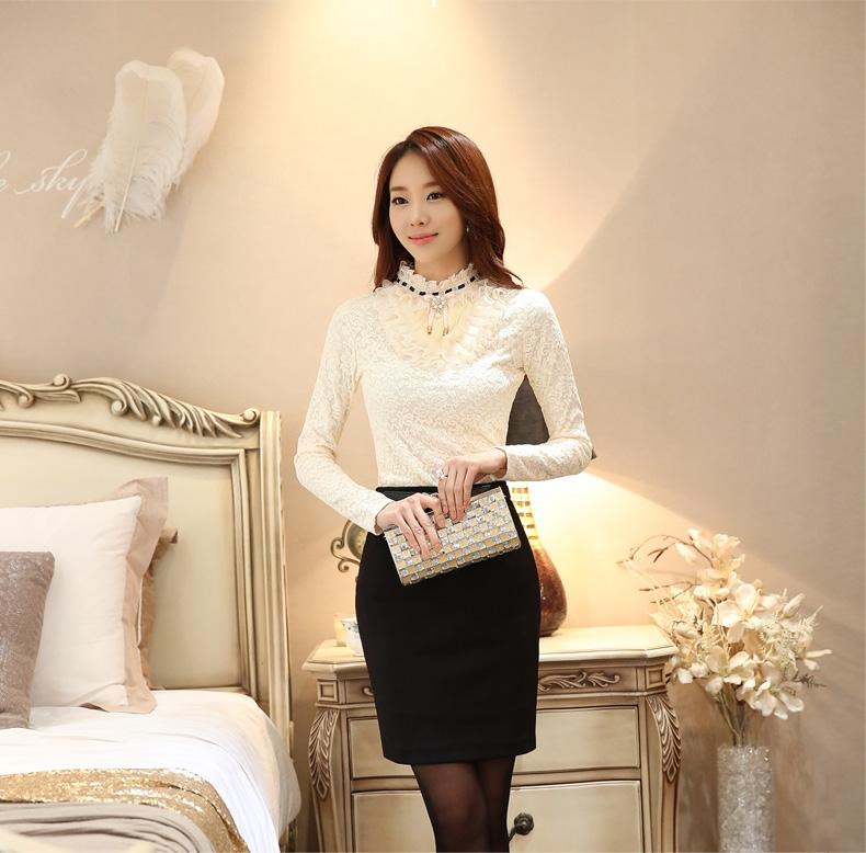 รับตัวแทนจำหน่ายเสื้อลูกไม้สีขาวแฟชั่นเกาหลีแขนยาวสวยๆ