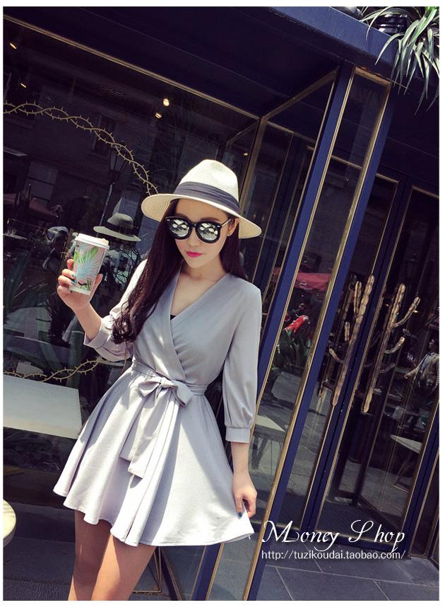 รับตัวแทนจำหน่ายชุดเดรสแฟชั่นเกาหลีสีเทาสวยๆ