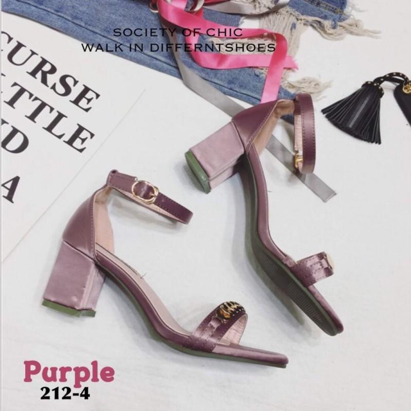 รองเท้าส้นตัน ผ้าซาติน(สีม่วง)