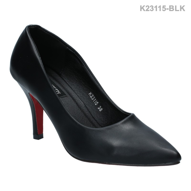 รองเท้าส้นสูง หัวแหลม ปิดส้น ทรงสุภาพ (สีดำ )