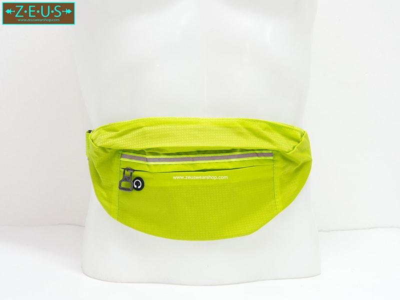 กระเป๋าคาดเอววิ่ง กันน้ำ สีเขียว Size L มี 3 ซิป เสียบหูฟังได้