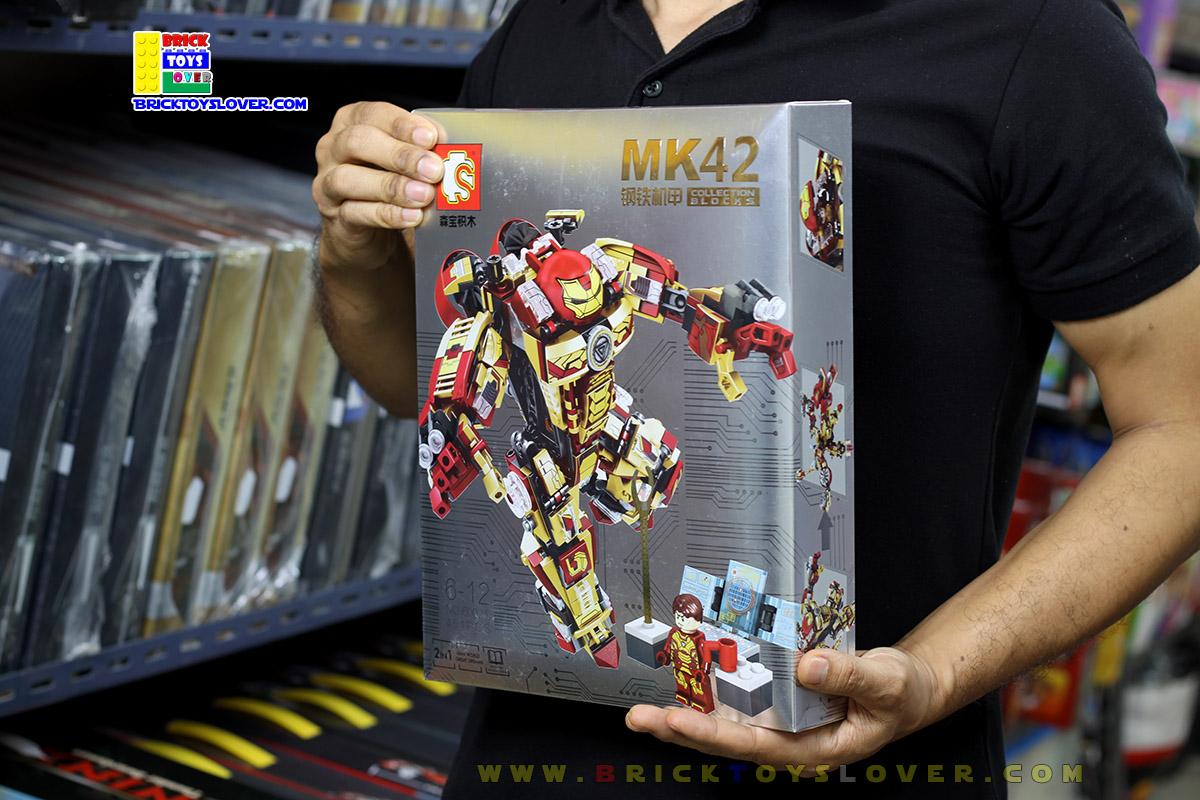 S60021 ตัวต่อ MK42 ชุดเกราะ Hulkbuster สีแดง Mark XLII ต่อได้ 2 แบบ