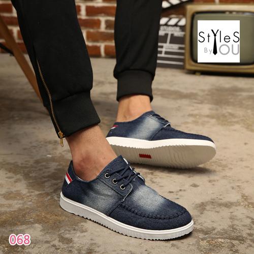 รองเท้าผู้ชายแฟชั่น วัสดุผ้ายีนส์ฟอกทรงสวยแต่งลายสไตล์อังกฤษ มี 3 สี