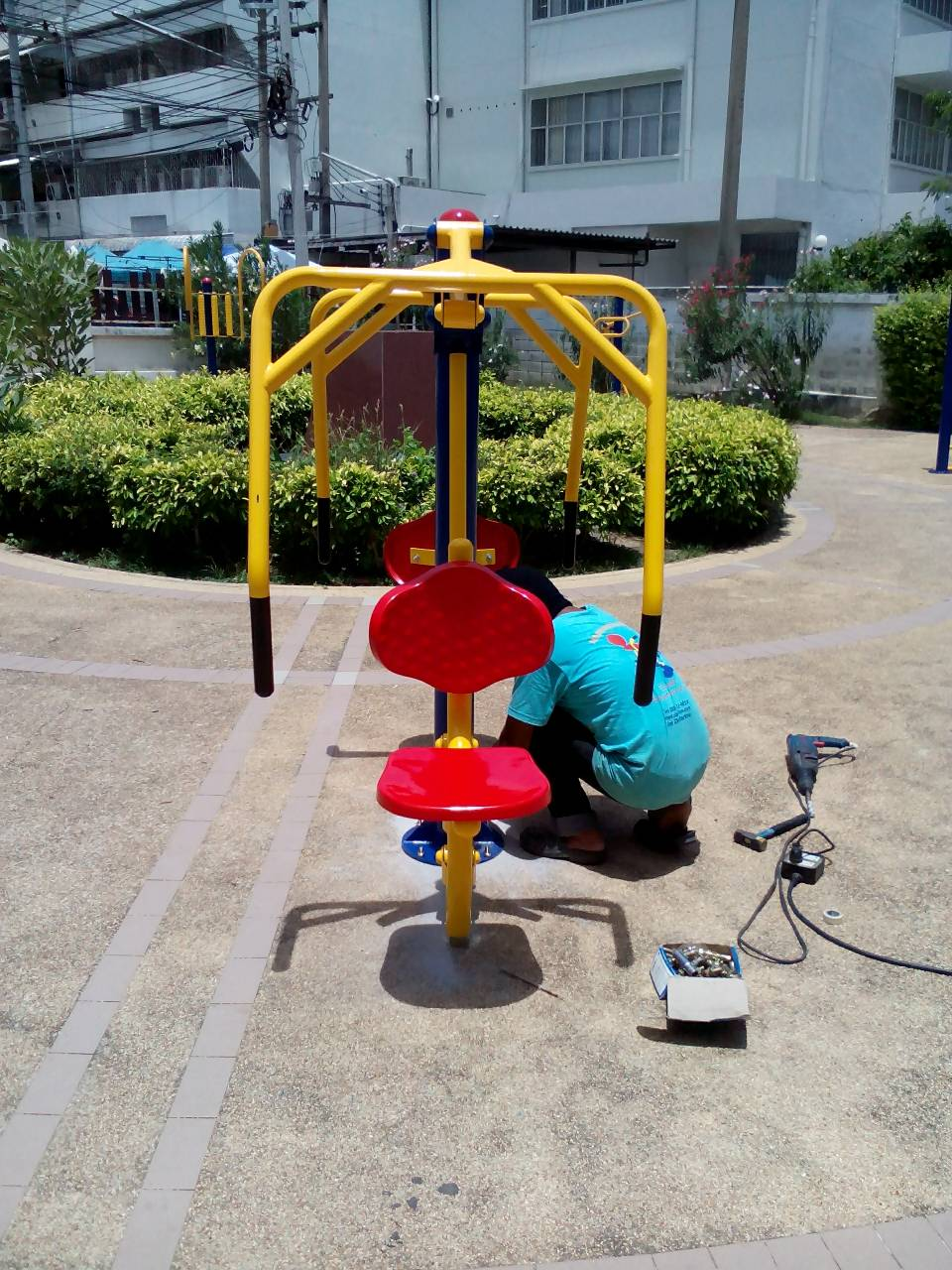 รหัส OUL ผลงานติดตั้ง (สวนสาธารณะเทศบาลเมืองปทุมธานี) เครื่องออกกำลังกายกลางแจ้ง