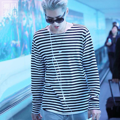 เสื้อแฟชั่นแขนยาวสีขาวดำ EXO ลายขวาง แนวลำลอง