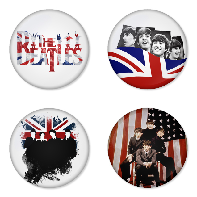 The Beatles button badge 1.75 inch custom backside 4 type Pinback, Magnet, Mirror or Keychain. Get 4 in package [2]