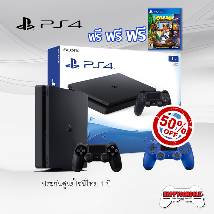 PS4 Slim 1TB + DualShock 4 50%Off + Crash Bandicoot