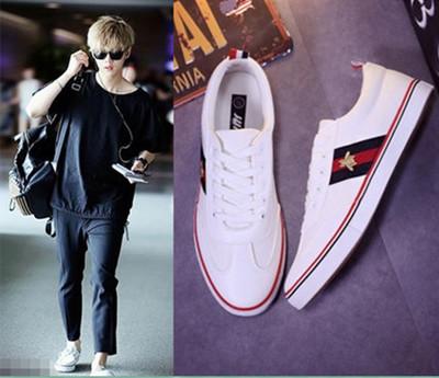 รองเท้าผ้าใบเกาหลี EXO แต่งเส้นคาด ดีไซน์โลโก้ มี4สี