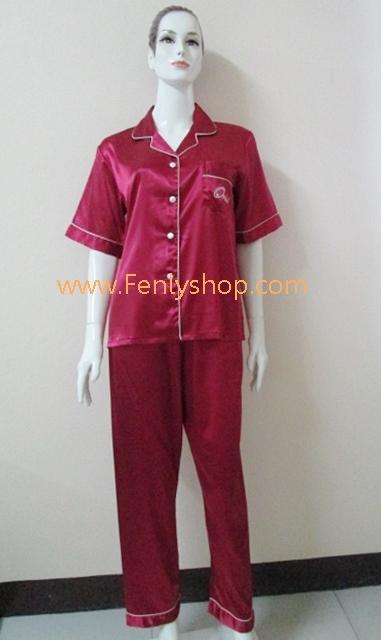 ชุดนอน(ญ)ผ้าซาตินแขนสั้นขายาวฟรีไซส์ สีแดง คอปก
