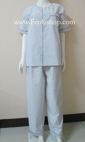 ชุดนอน(ช)กก.ขายาวแขนสั้น ผ้า Cotton เกรด เอ สีขาว คอกลม ขนาดไซส์ L