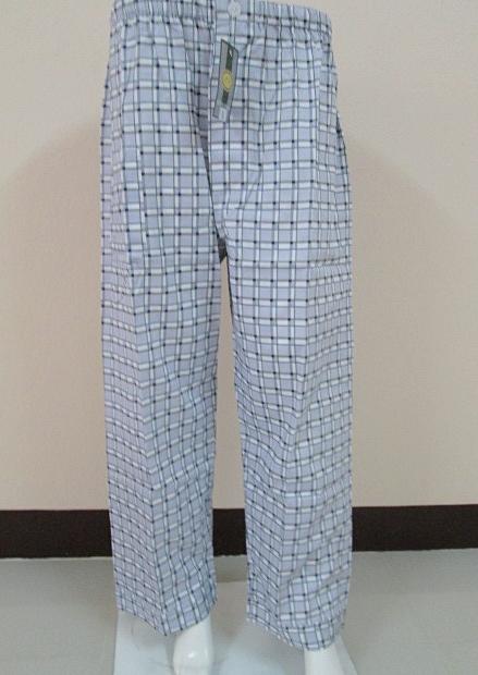กางเกงนอนขายาว(ชาย) ผ้าคัตตอน เกรด เอ แบบลาย โทนสีเทาเขียว ไซส์ L