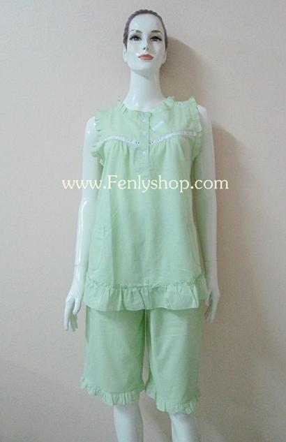 ชุดนอน(ญ)ขาสามส่วน ผ้าป่านมัสลิน สีเขียว แบบสวม ฟรีไซส์ มี 5 สี ให้เลือก (ฟ้า,ชมพู,ม่วง,เขียว,น้ำตาล)
