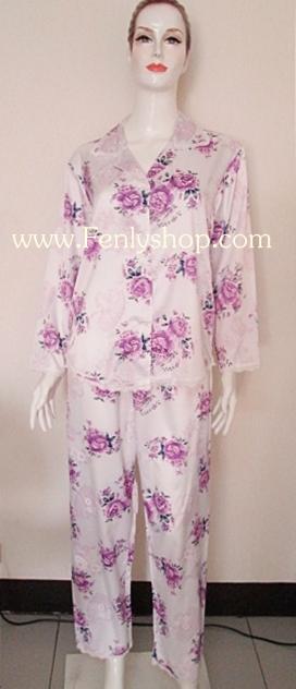 ชุดนอน(ญ)ผ้าซาตินกางเกงขายาวแขนยาว ไซส์ใหญ่ สีขาว ลายดอกสีม่วง