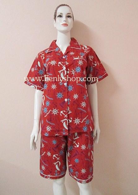 ชุดนอน(ญ)ขาสามส่วน ผ้า Cotton สีน้ำตาลแดงลายสมอเรือ คอปก ฟรีไซส์(มี 3 สี น้ำตาลแดง,น้ำเงิน,เขียว)