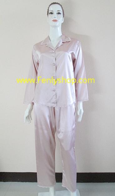 ชุดนอน(ญ)ผ้าซาตินกางเกงขายาวแขนยาว สีพีช(ชมพูกะปิ) สีสวย เสื้อรอบอก 40 นิ้ว