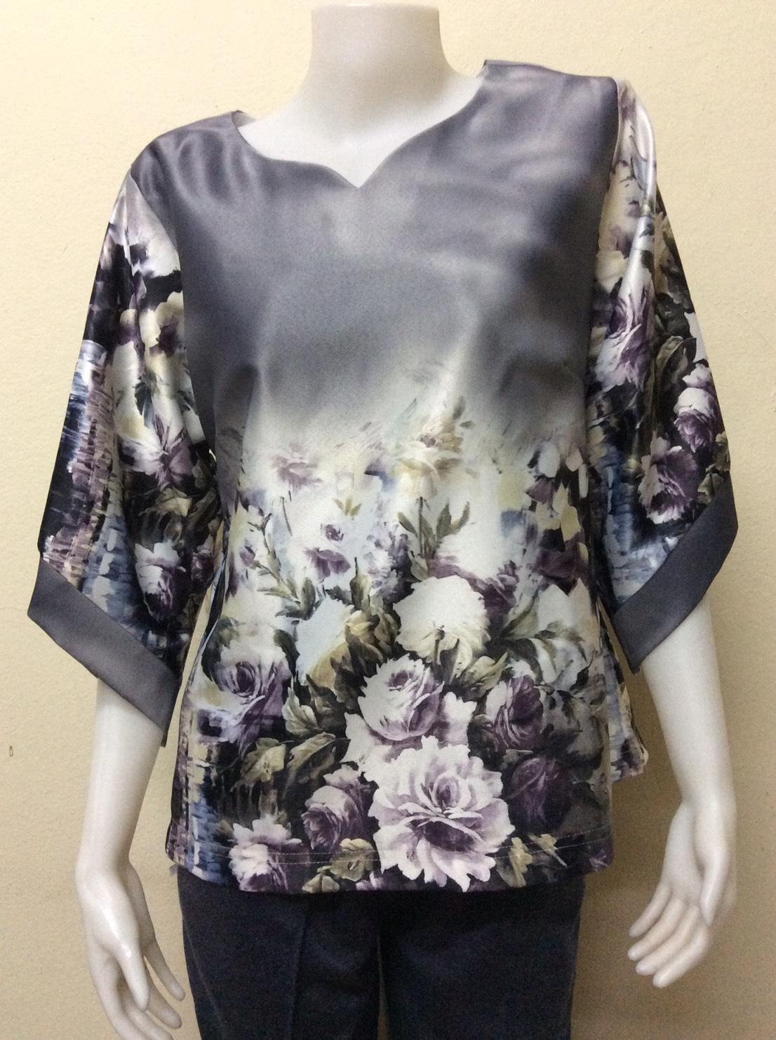 เสื้อคอแฟชั่นผ้าเมสัน By PISTA สีเทา Size 46