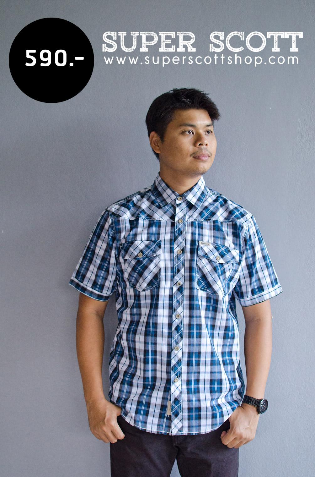 เสื้อเชิ้ตลายสก๊อตผู้ชาย สีน้ำเงิน แขนสั้น ไซส์ใหญ่
