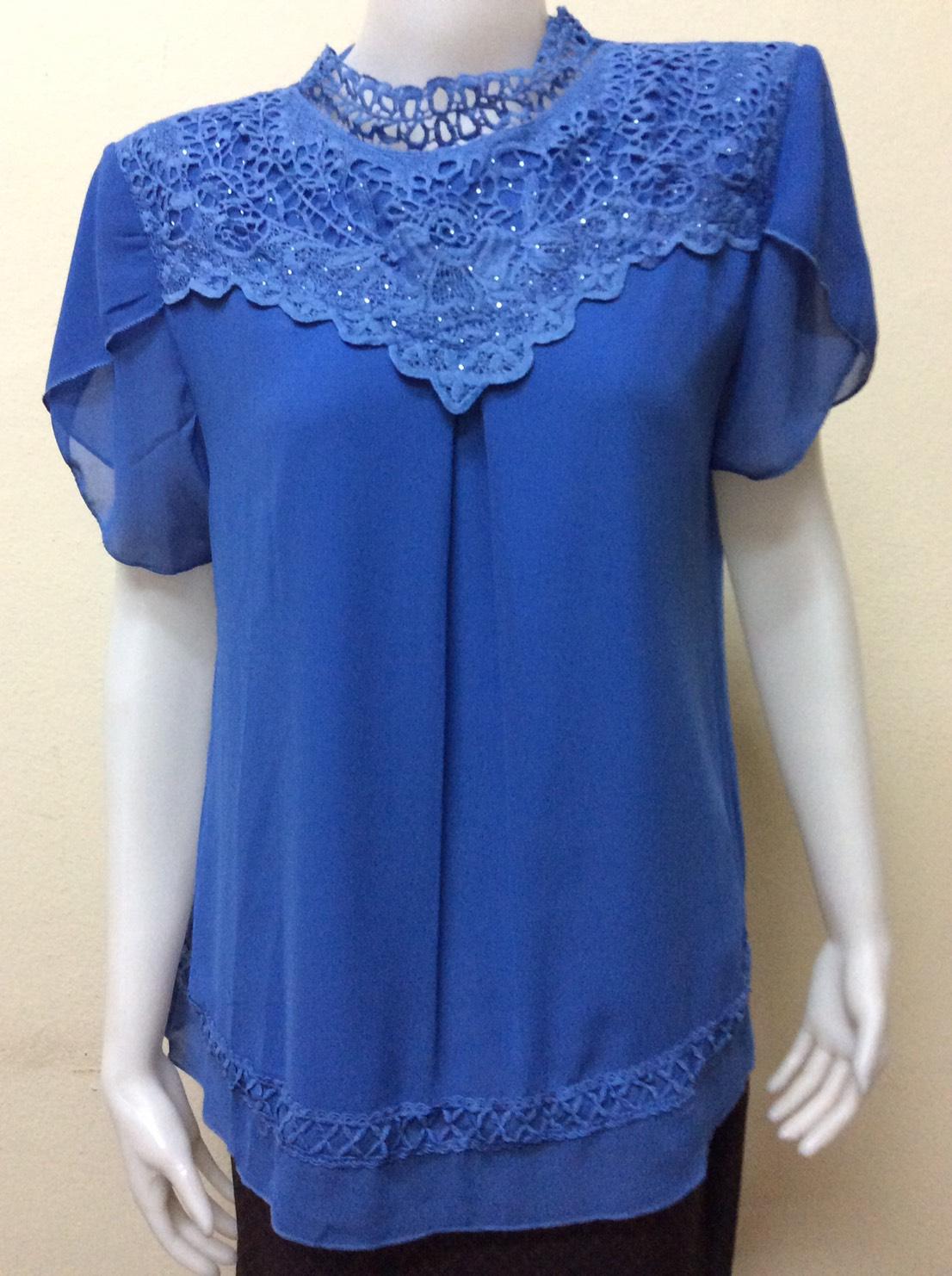 เสื้อคอกลม สีฟ้าน้ำทะเล By NEW YA FAG