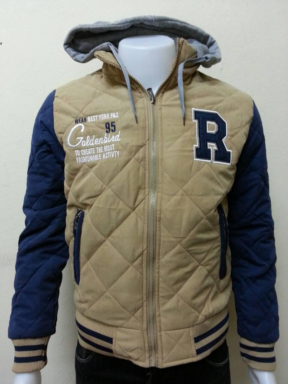 เสื้อแจ็คเก็ตกันหนาว มีฮู้ดสุดเท่ห์ แนววัยรุ่น สีครีมแขนสลับสีกรม
