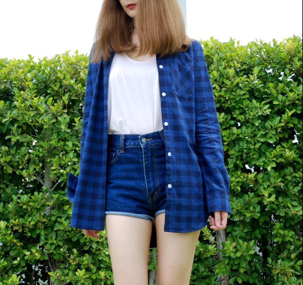 เสื้อลายสก๊อตผู้หญิง สีน้ำเงิน