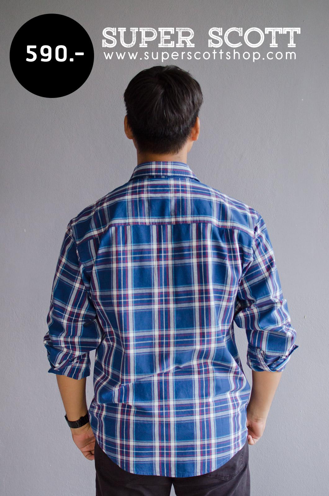 เสื้อลายสก๊อตผู้ชาย สีน้ำเงิน ไซส์ใหญ่