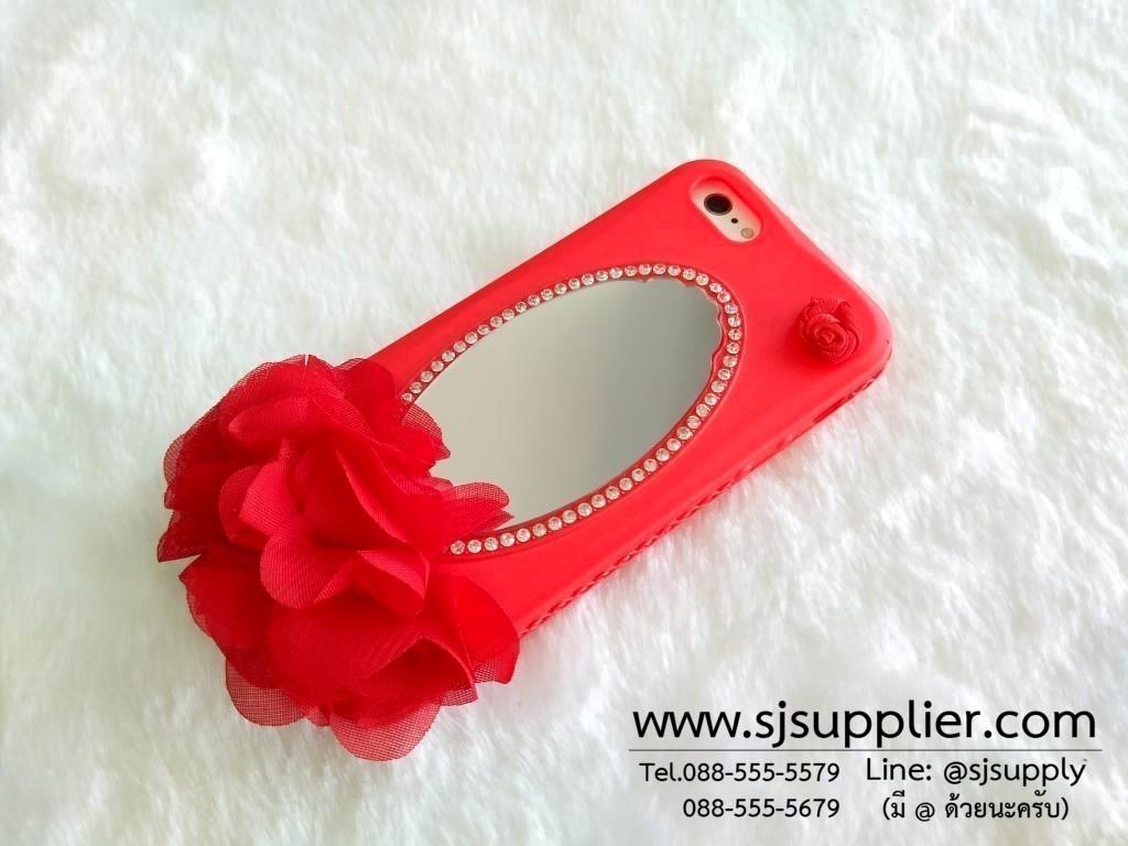เคส iPhone 6/6s Plus ดอกไม้กระจก สีแดง