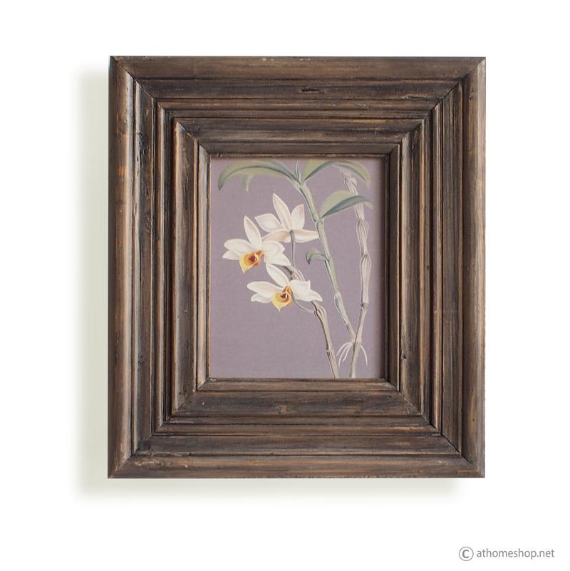 วอลล์อาร์ตพิมพ์ลายดอกไม้ กรอบบัวไม้สีอ่อน