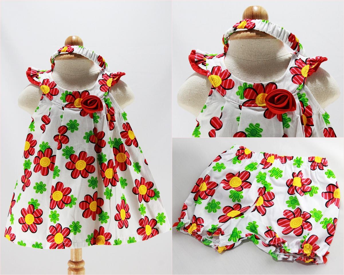 ชุดกระโปรง + กางเกง + ที่คาดผม เดรสสีชมพูลายดอกไม้สีแดง