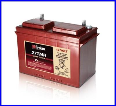 แบตเตอรี่ TROJAN แบตเตอรี่สำหรับการใช้งานระบบพลังงานทดแทน ชนิด Deep cycle battery 12V 105AH คุณภาพสูง ผลิตในประเทศอเมริกา TROJAN 27TMX