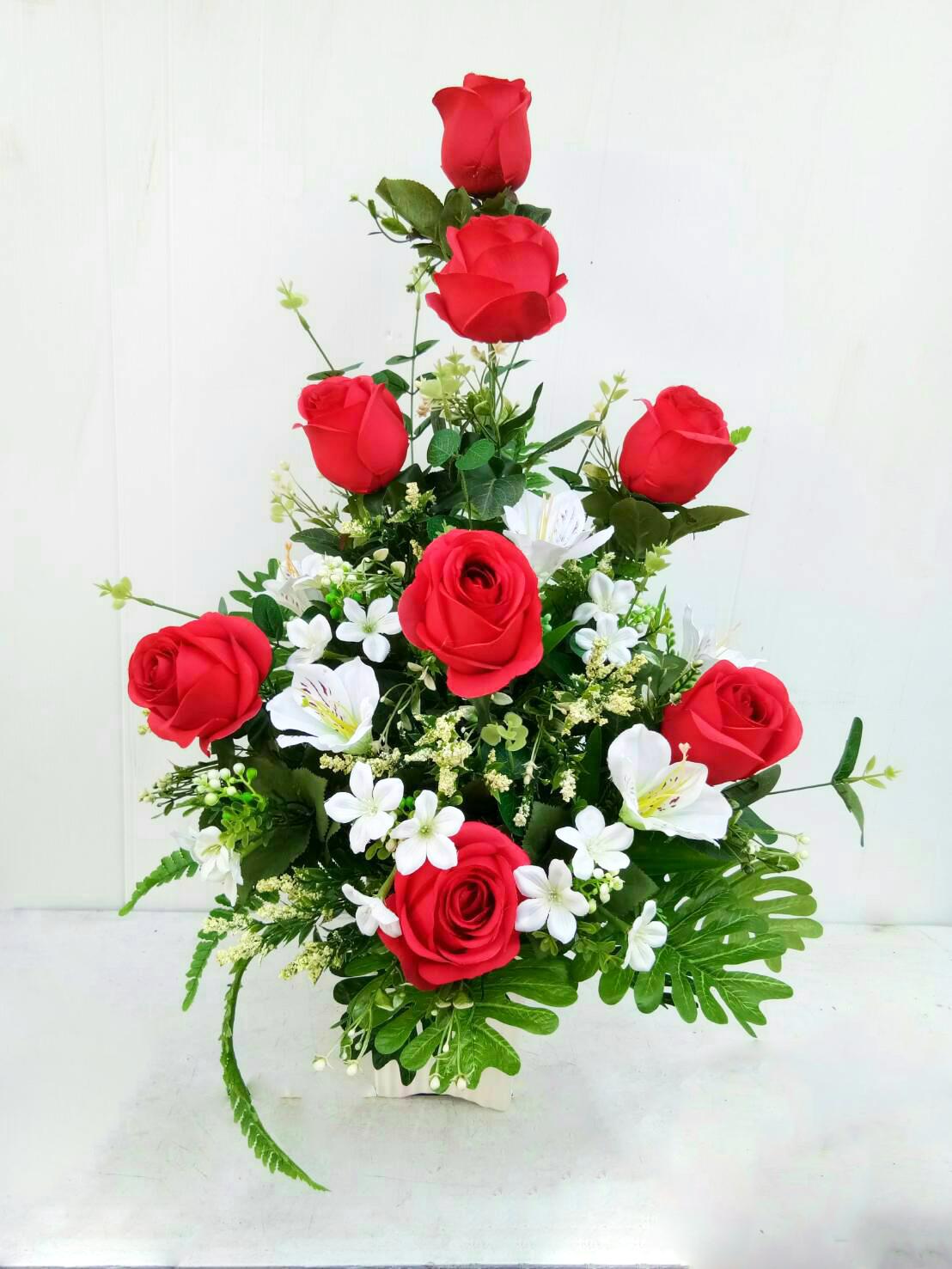 แจกันดอกไม้ประดิษฐ์กุหลาบแดงใหญ่ รหัส 4007
