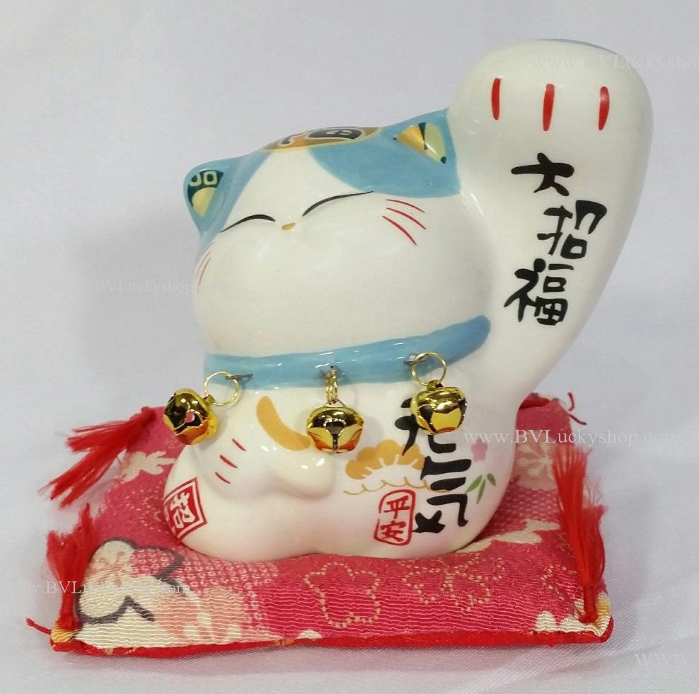 แมวกวัก แมวนำโชค สูง 4 นิ้ว กวักมือซ้าย (สีขาว/ฟ้า) [SB5019]