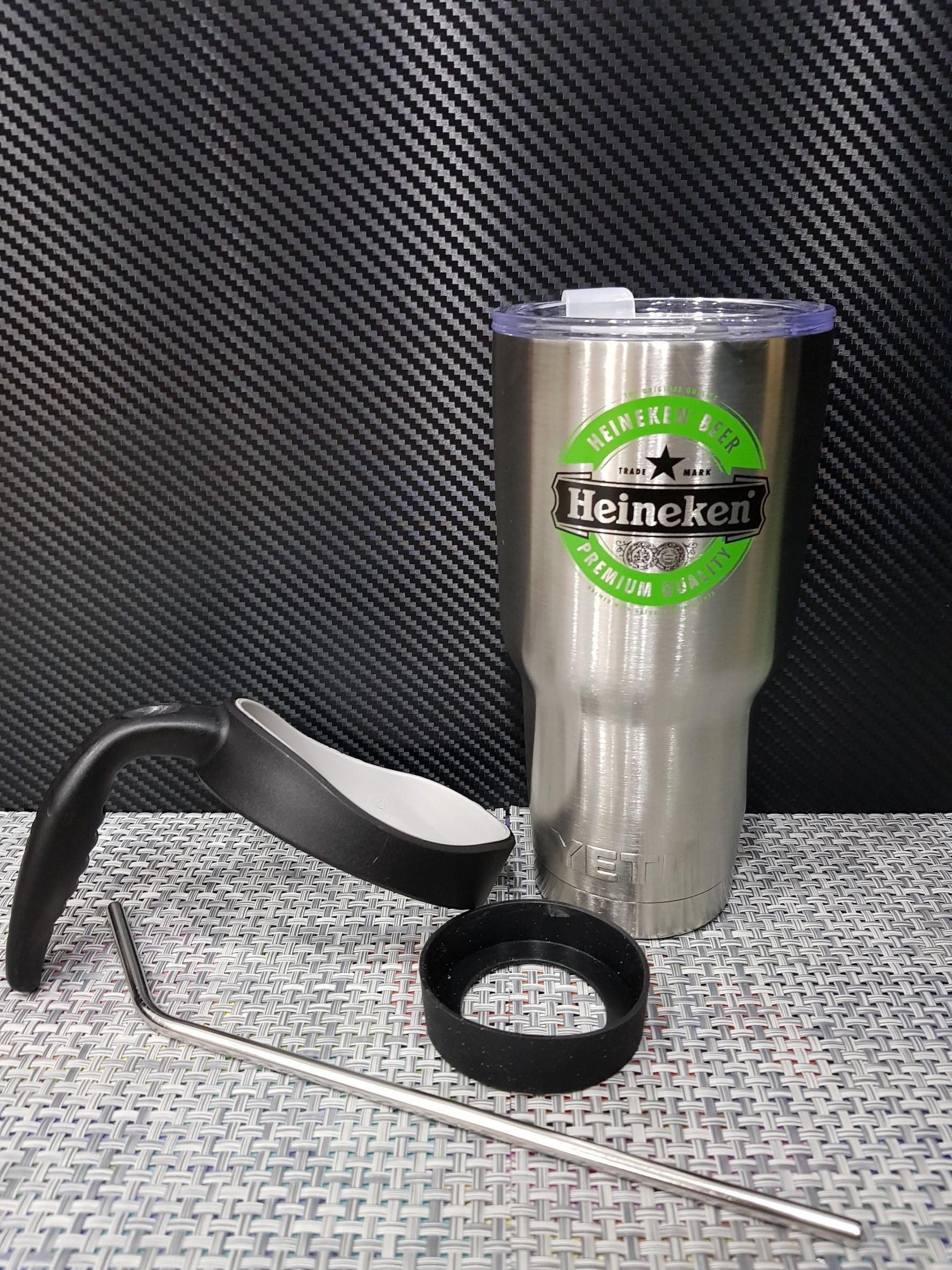ชุดแก้วเยติ 30 ออนซ์ พื้นสีเงิน โลโก้ Heineken สีเขียวสลับดำ