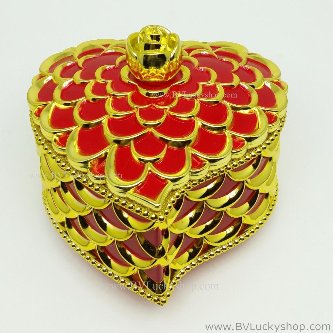 กล่องเก็บเครื่องประดับ หัวใจ ยาว 5 นิ้ว - สีแดง/ทอง [HE18005-Red.G]