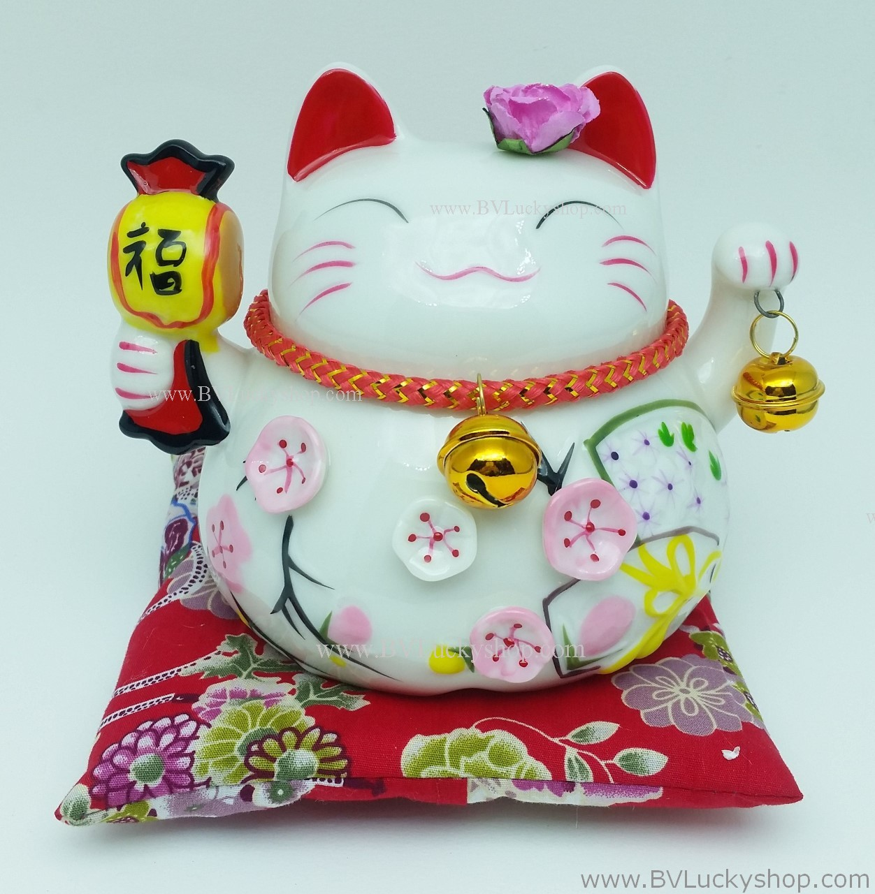 แมวอ้วน แมวกวัก แมวนำโชค สูง 4.5 นิ้ว ถือค้อนให้โชคลาภ [A0503]