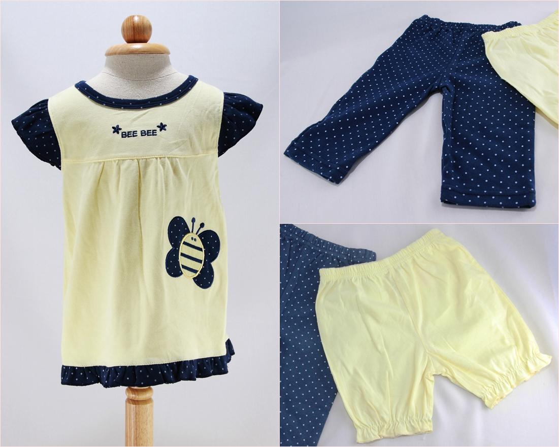 ชุดเสื้อลายผึ้ง + กางเกง (สีเหลือง)