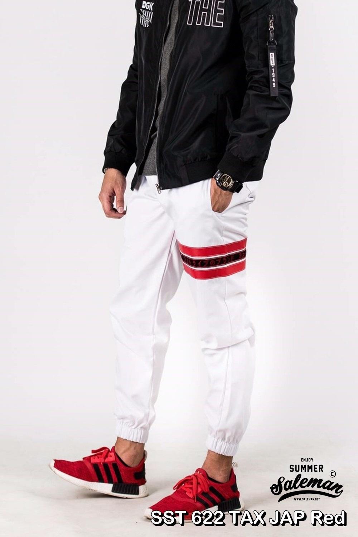 กางเกง JOGGER พรีเมี่ยม ผ้า COTTON รหัส SST 622 TAX JAP Red สีขาว แถบแดง