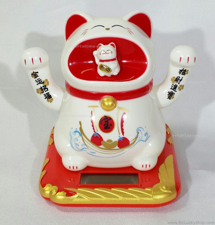 """แมวกวัก """"พลังแสง"""" กวัก2มือ อ้าปาก สูง 4 นิ้ว ลายเรือสำเภา [Sol-Cat-M2ship]"""