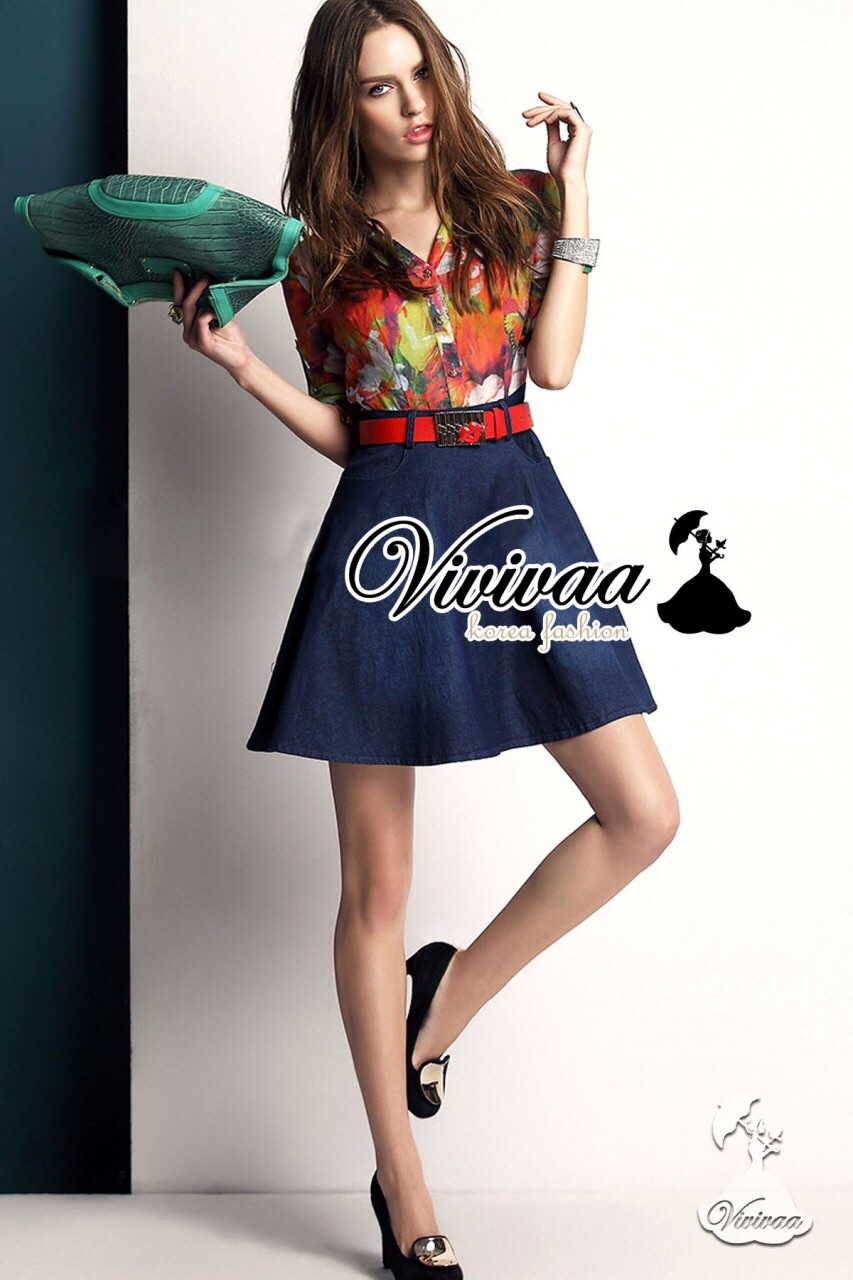 Clorly flora shirt denim skirt dress