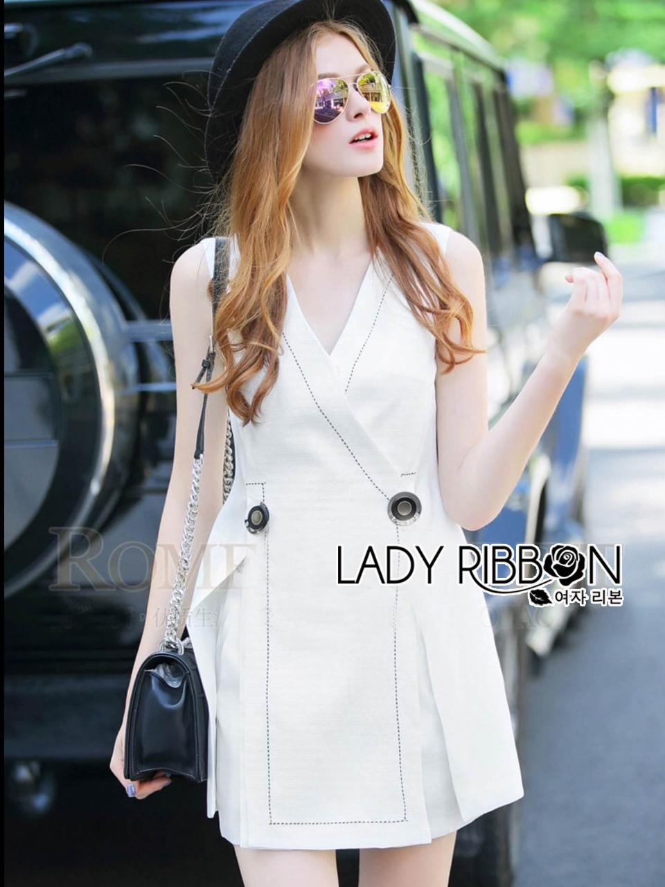 Lady Ribbon's Made &#x1F380 Lady Kelly Smart Casual Sleeveless Suit and Shorts Set เซ็ตเสื้อสูทแขนกุดตกแต่งกระดุม ตัวเสื้อเป็นแบบสูทลำลอง ผ่าด้านหน้าสองข้าง ส่วนกางเกงเป็นทรงเอวสูงสีเดียวกับเสื้อ เนื้อผ้า Cotton+Lenin 100%