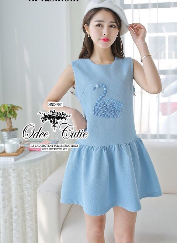 Swan embroiderish baby blue mini dress