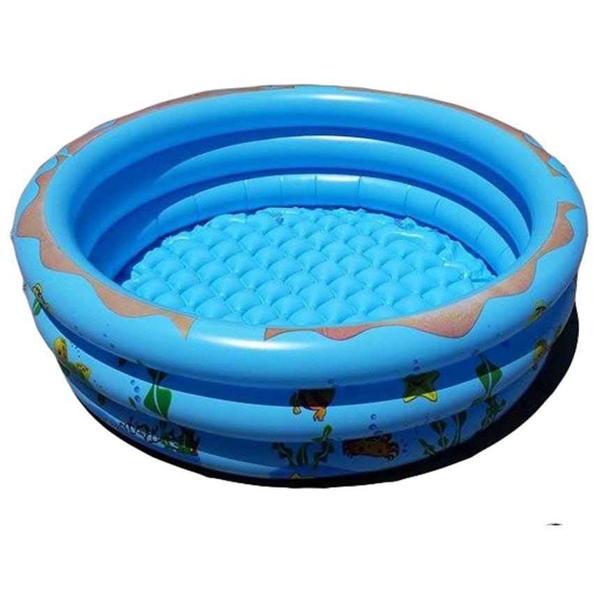 สระน้ำเป่าลม ลายเพื่อนรักใต้ทะเล (สีฟ้า) ขนาด 100 cm ขอบ 3 ชั้น แถมฟรีห่วงยางคอเด็ก