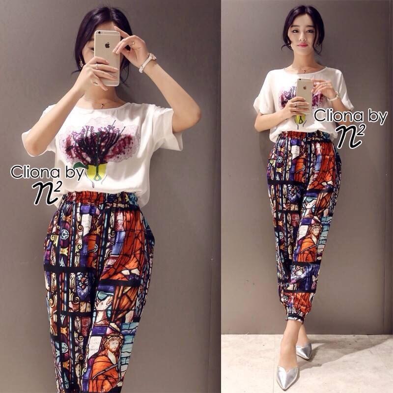 Viola Flower Shirt + Relic Print Line Pant Set