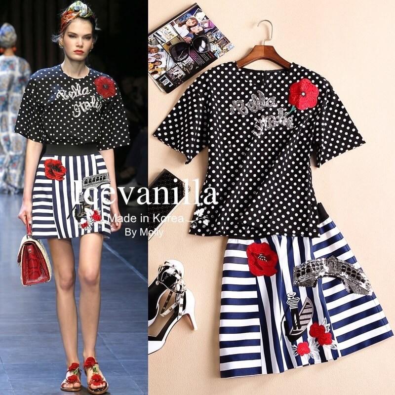 D&G dots retro striped shirt embroidered skirt Set