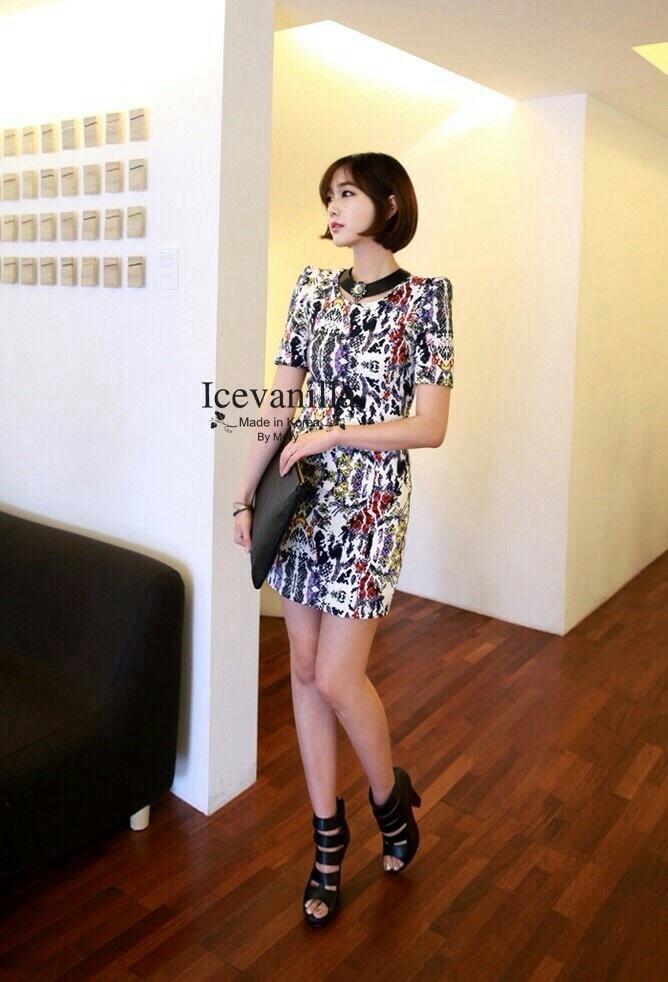เดรสแฟชั่นเกาหลี ผ้าพิมพ์ลายมิกซ์สี