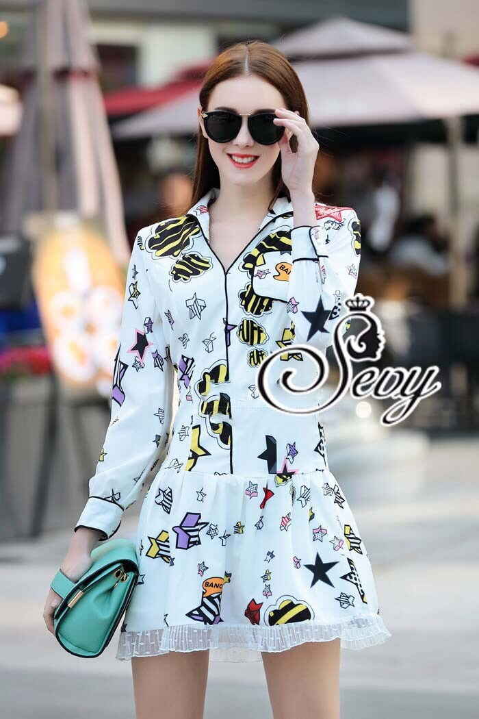 Star Shining Day Collar Long Sleeve Mini Dress