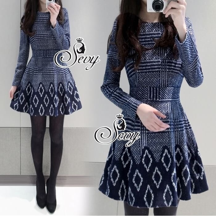 Long Sleeve Round Neck Hollow Mini Dress