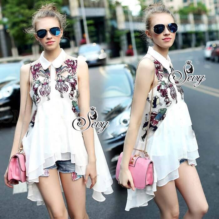 Sevy Elegant Flora Embroidered Sleeveless Curve Layer T-Shirt