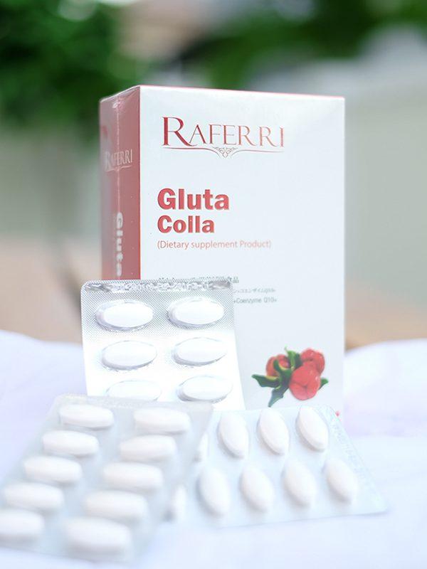 Raferri Gluta Colla 1 แถม 1 ผลิตภัณฑ์อาหารเสริมชนิดเม็ด Raferri Gluta Colla เพื่อผิวพรรณกระจ่างใส เต่งกระชับ อุดมไปด้วยสารตั้งต้นในการผลิตกลูต้าไธโอน คอลลาเจน และสารสกัด Acerola Cherry สารต้านอนุมูลอิสระ บำรุงผิวพรรณเรียบเนียน กระจ่างใส เต่งกระชับ เปล่งปลั่งในแบบที่คุณต้องการ